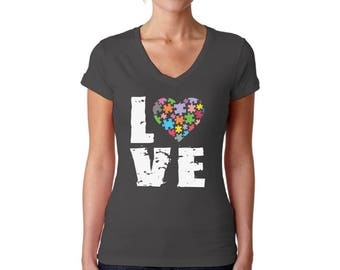 Autism Awareness Love Puzzles V-neck T shirts Tops Women's Shirts Autistic Support Puzzle Piece ASD Autism