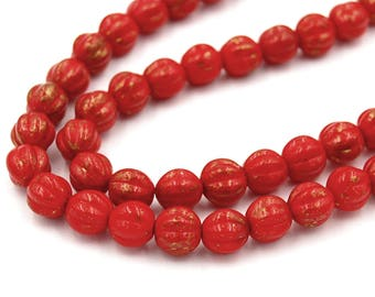 50/pc Opaque Red Marbled Gold Czech Melon 8mm Round Beads