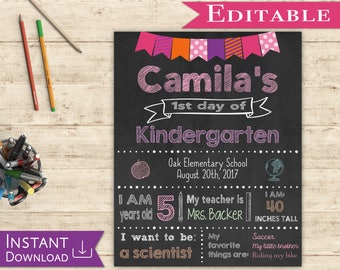 First day of School Sign Editable Chalkboard Girl Back to School 1st day of School, DIY Printable Photo, Pink and Purple, Flags