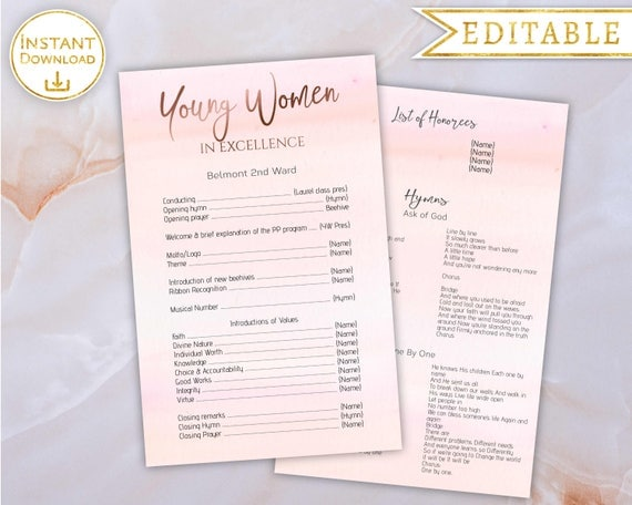 young women in excellence program editable pdf template rose