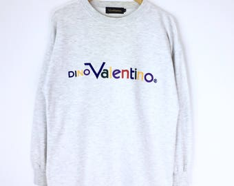 Rare!!! Vintage Dino Valentino Sweatshirt Multicolors Embroidery DV Spellout Big Luxury Pullover Jumper Sweater