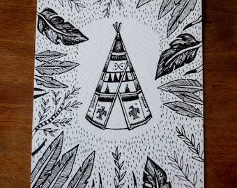 Tipi illustration card