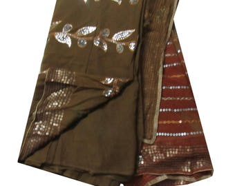 ethnic brown vintage indian saree georgette floral embroidered fabric wrap sari