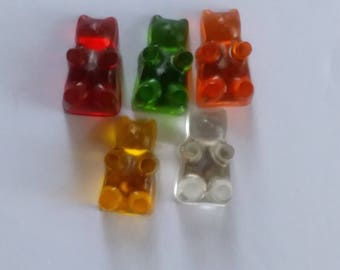 Candy Bear Push Pins/Candy Bear Thumb Tacks/ Gummy Bear Thumb Tacks Set of 5