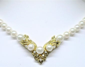 14KY Diamond & Pearl Fancy Necklace 17""