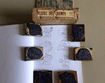 French vintage rubber stamps - 50s