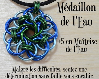 Médaillon de l'eau - Persévérance, détermination, patience - cotte de maille vortex, bleu vert, pathfinderjeux de rôle donjons dragons