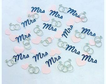 Bridal Shower Confetti- Ring Confetti -  Bridal Shower Decorations - Bridal Shower Navy Decor - Pink Bridal Shower Decor-Silver Bridal Decor