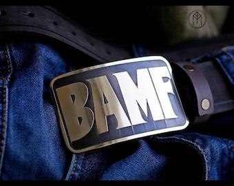Leather belt brass buckle BAMF  (Mccree's belt)