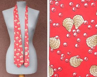 Hermes Red Silk Tie with Shell Motif Hermès Paris