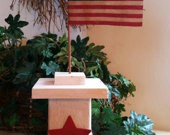 Rustic American Flag Post