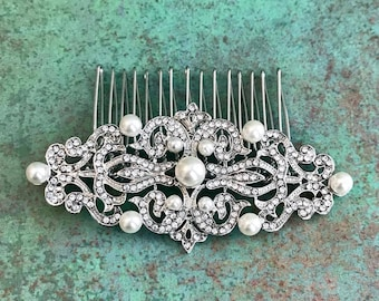 Rhinestone Hair Comb With Faux Pearls, Wedding, Bride, Bridal, Bridesmaid, Prom, Special Occasion, Updo, Silver Toned, Clear Rhinestones