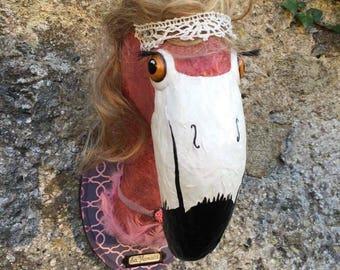 UNIQUE piece available - Trophy decorative handmade Flamingo head.