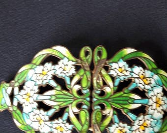 Art Nouveau brooch made from a belt clasp, bras and enamel. About 1900, probably British
