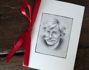"""Jean Ferrat"" folded card with illustration + Ribbon"