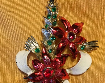 Vintage Beatrix Signed Candle and Pointsettia Brooch