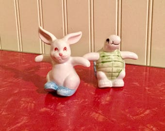 TORTOISE & HARE Vintage Fitz and Floyd Salt and Pepper Shakers Japan 1979