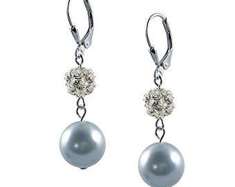 Bridal Earrings Wedding Earrings Bridesmaid Earrings Silver Earrings Dangle Earrings Pearl Earring Swarovski Crystal Ball  Earrings