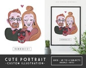 Create a Family Portrait - CUTE and Simple Style - DIY Digital Printable, Art Commission, Anniversary Portrait, Couple with Pet Portrait