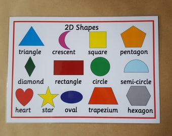 2D Shapes Poster - Laminated A4 Poster - 2D Shapes, Early Learning, Teaching Resource, Educational Resource, Learning, home schooling