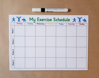 Exercise Planner, Reusable Laminated Card, Slimming World, Weight Watchers, Weight Loss, fitness, healthy living, losing weight