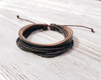 Men's brown leather cord bracelet