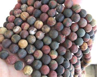 8mm Matte picasso jasper, red creek jasper beads, full strand, picasso jasper, Jasper beads, gemstone beads, bracelet beads, US seller