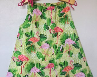 Flamingo summer dress - Toddler summer dress - Girl's summer dress - Flamingo sundress - Toddler flamingo dress - Tropical summer dress