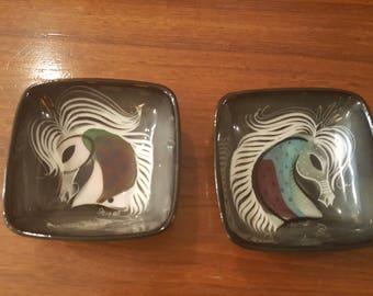 Pair of Mid Century Sascha Brastoff Horse dishes