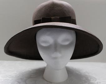 Vintage Pirouettes by Adolfo II Brown Straw Hat with Very Wide Brim, Bow, and Creased Crown Detailing