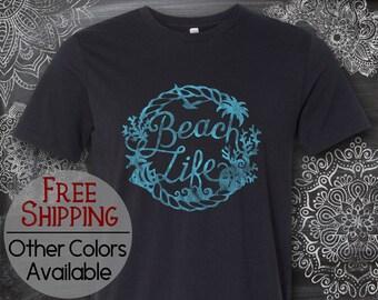 Beach Life, Beach Shirt, Vacation T-Shirt, Pool Shirt, Summer Shirt, Fun Shirt, Plus Size Available, 70s Retro T Shirt, Short Sleeve, Gift