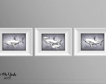 School of Sharks Art Print