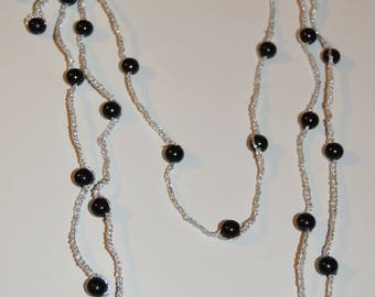 ref1 silver wire crochet triple chain necklace