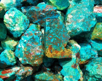 1000 Carat Lots of Chrysocolla & Turquoise Rough - Plus a FREE Faceted Gemstone