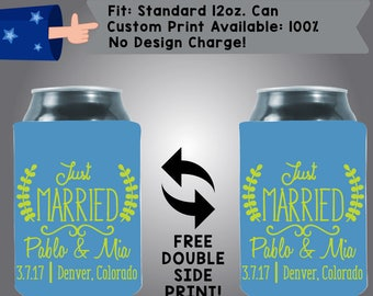 Just Married Names Date Collapsible Fabric Wedding Cooler Double Side Print (W370)