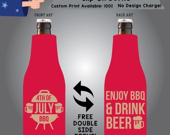 4th of July BBQ Enjoy BBQ & Drink Beer Slip On Fabric Bottle Holidays Cooler Double Side Print (SF-FourthofJuly01)
