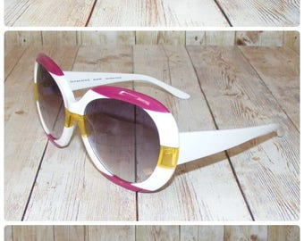 Vintage 70s retro oversize round sunglasses white plastic/pink/yellow (SG10)