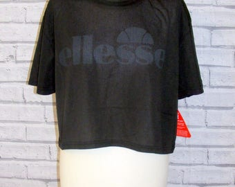 Plus size 18 vintage 90s style Ellesse crop t shirt top black sheer mesh BNWT