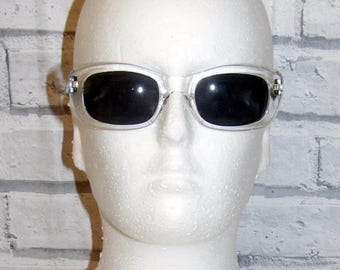 Vintage 90s deadstock 50s style rectangle sunglasses transparent frame (SG47)