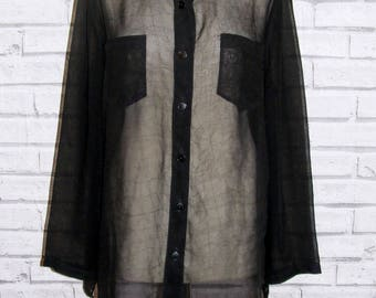 Size 16 vintage 90s long sleeve oversize fit hooded blouse sheer black (IA98)