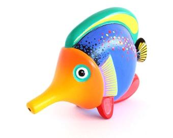 Wooden Long Nose Blue & Orange Fish