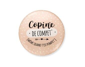 Badge Copine de compet' | cadeau copine, cadeau meilleure amie