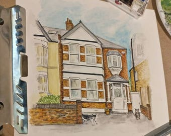 Custom house portrait - A5/A4 - Moving home / Wedding / First home / Housewarming gift