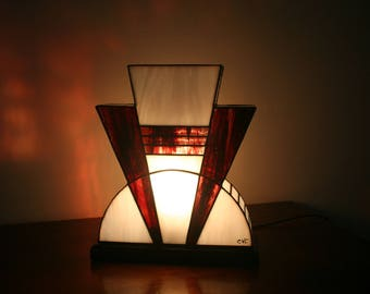 Lamp Art Deco stained glass Tiffany blood red