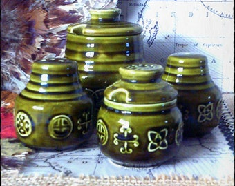 Mint Condition...Lord Nelson Ware Pottery, Green Celtic/Folk design Condiments set.