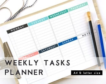 Weekly Tasks Planner. Complete week Printable Planner. Letter and A4 sizes. Black and white and colorful planner pages.