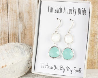 Long Mint and White Silver Earrings, Mint Green White Silver Earrings, Bridesmaid Earrings, Green Wedding Jewelry, Bridesmaid Gift