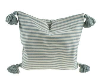 Cushion cover with tassels - fair trade cotton, 40 x 40 cm, grey-Fawn