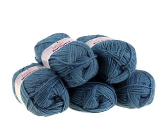 5 x 100 g yarn Orla #461 petrol, knitting wool, wool, hand Knitting yarn