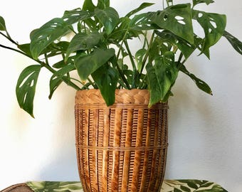 Rattan wicker planter / Wicker Bamboo planter / Boho planter